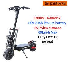 80 км/ч 3200 Вт Электрический скутер для взрослых Doulbe двигатель двойной двигатель мощный 11 дюймов внедорожных полных шин Электрический скейтб...(Китай)
