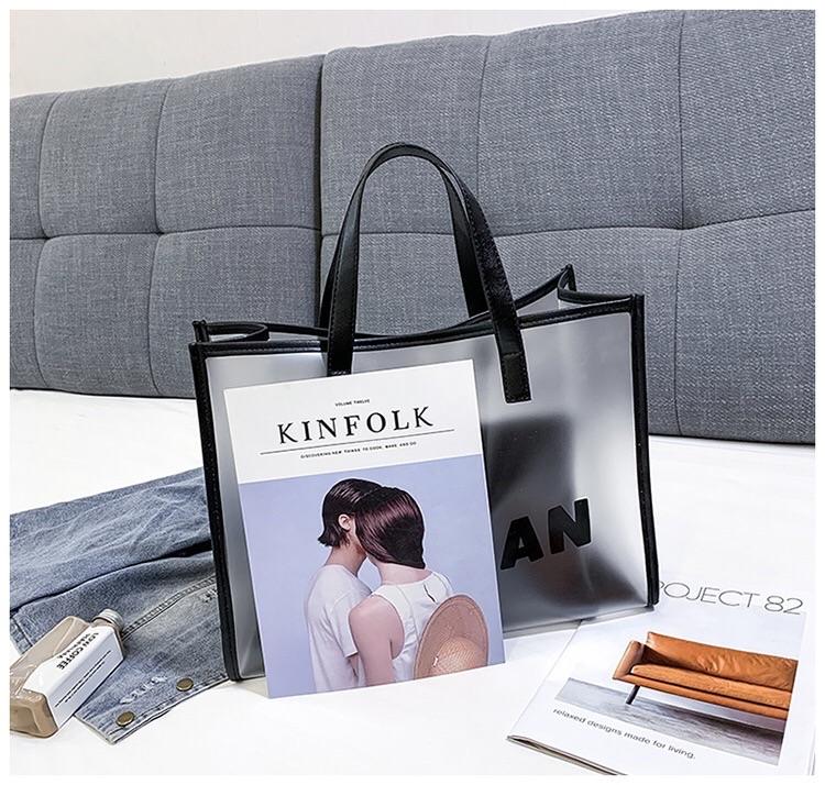 Wholesale Transparent Clear Women pvc laser plaid plastic tote shopping bag