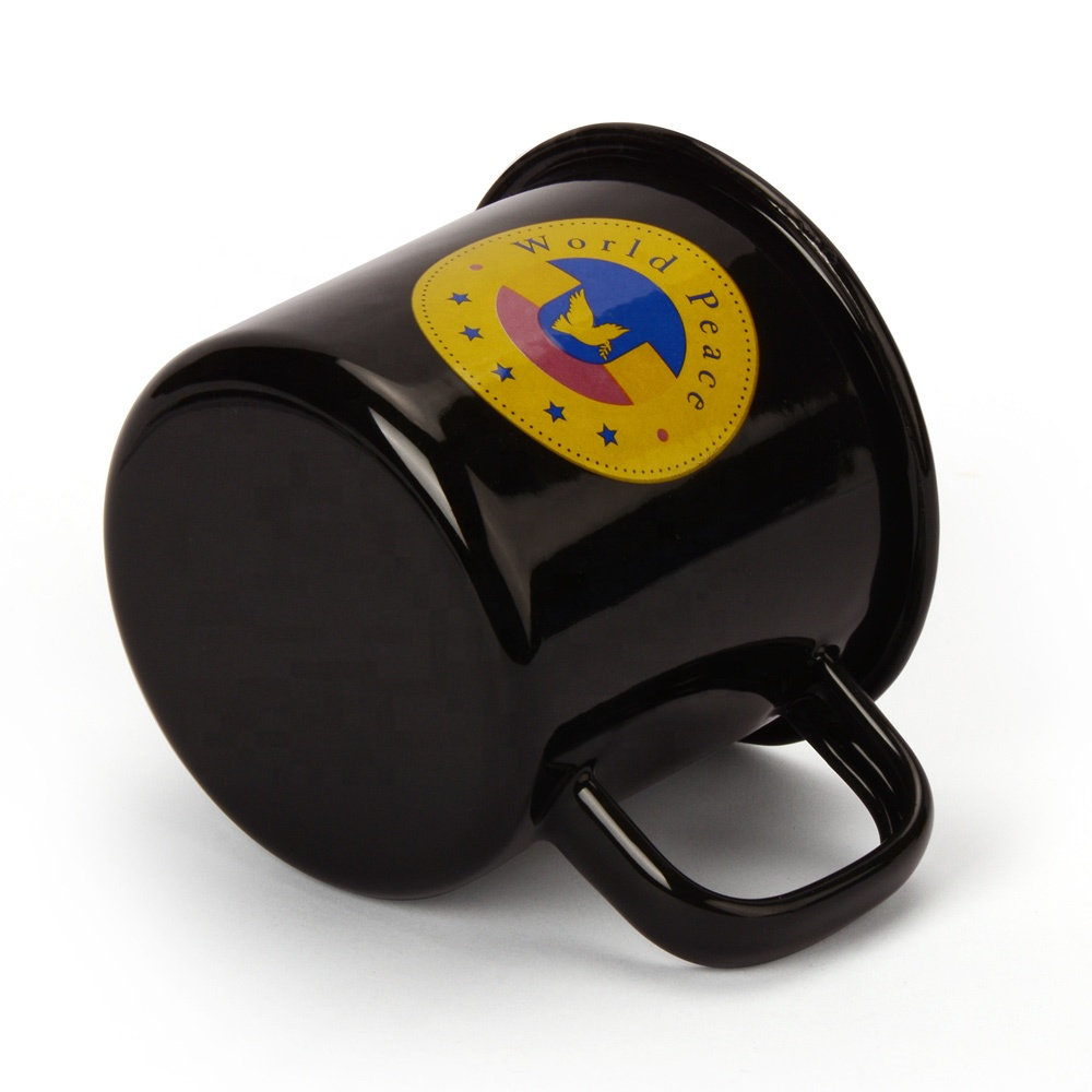 KLP Best Quality Solid Color Coffee Cup 240ml Handgrip Enamel Mug with Custom Logo