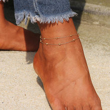 Женский ножной браслет золотистого/серебристого цвета, двухслойный Модный летний браслет под сандалии для девушек(Китай)