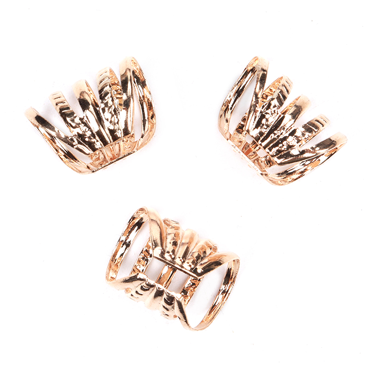Stock Viking Loc Jewelry Metal Clip Cuff Ring Rose Gold Silver Color Dreadlock Hair Beads For Braids