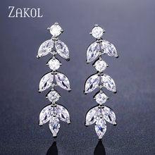 ZAKOL новые CZ циркониевые длинные висячие серьги с кристаллами в форме листа для элегантных женщин Свадебные ювелирные изделия Аксессуары по...(Китай)