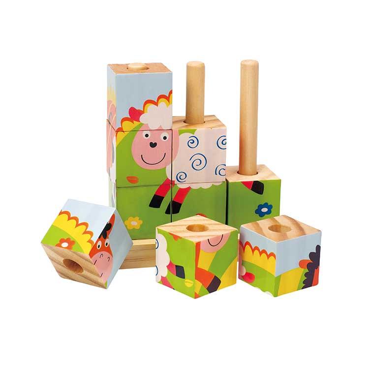 Новый стиль, деревянный кубический пазл для детей, пазл с животными