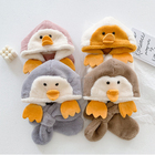 Hats and scarves an integrated cartoon winter baby hat thickened Boys and girls children ear guard hat plush winter scarfs