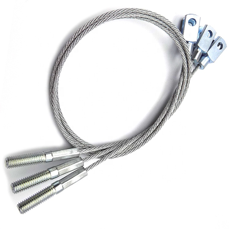 Safety Stainless Steel Wire Rope Tension Cable With M5 Threads End&Pin U Fitting End Wire Rope Assembly