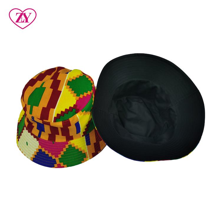 Yellow Kente Hot Sale Fashionable African Ankara Style Fisherman Beach Hat Luxury Unisex Foldable Hats Designer Bucket Hat