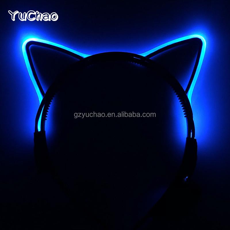LED party supplies wholesale hair band led lighting headband flash cat ears sell cute headwear
