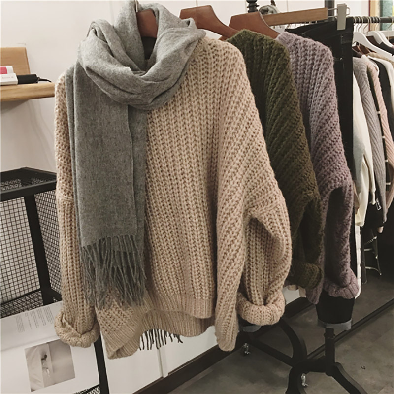 CUHAKCI Retro Autumn Winter Knitted Sweater For Women Pull Femme Oversize Loose Long Sleeve Solid Color Long Warm Sweater Jumper