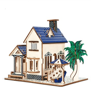 DIY Educational Wooden Toy Puzzle 3D Wooden House Puzzle Kids Wooden Jigsaw Puzzle