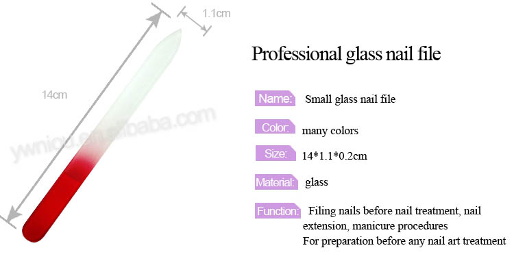 TSZS High Quality Colorful Small Glass File Professional Red Manicure Care Products Nail Art Tools Private Label