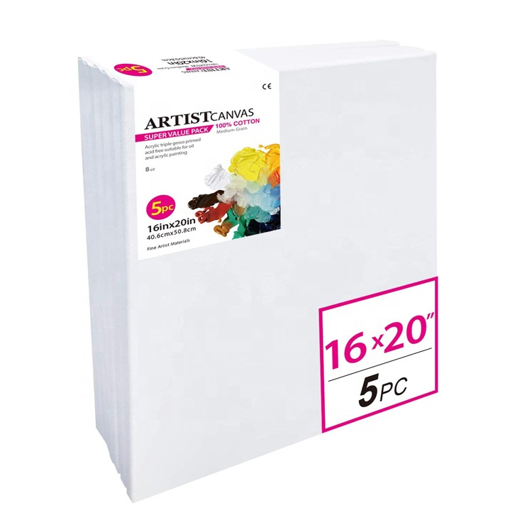 Wholesale Art Supplier 30X40 CM Cotton White Blank Stretched Acrylic Painting Canvas With Wood Frame