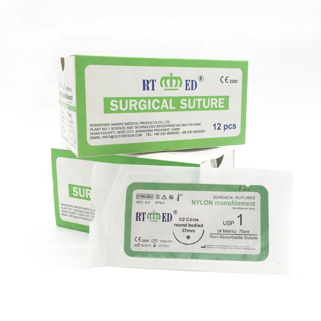 General and Ophthalmic and plastic surgery use Non-Absorbable Surgical Suture with needle Nylon monofilament blue black suture