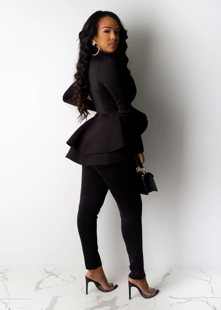 Новинка, женский зимний спортивный костюм для женщин, блейзер с длинным рукавом и оборками, брюки-карандаш, комплект из двух предметов, женская одежда для офиса, униформа