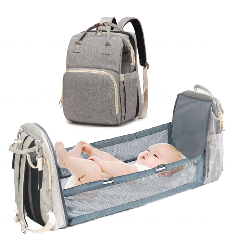 New 3 in 1 baby diaper bag bed multifunction USB mommy travel bag custom foldable crib backpack with trolley hook in stock