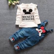2 предмета, одежда для маленьких мальчиков и девочек топы с длинными рукавами и рисунком Минни, футболка комбинезон из джинсовой ткани, штан...(Китай)