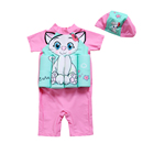 Mudkingdom Summer Baby Girl Short-sleeve Kids Swim Wear With Hats Baby Pink Clothing Sets Lace Baby Dress Kid Clothing Wholesale