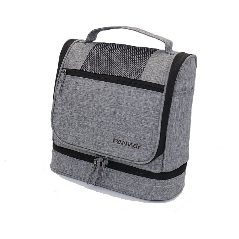 Rpet cosmetic bag Eco Friendly rpet polyester fabric produce Waterproof Display Hanging Travel Cosmetic Toiletry Bag