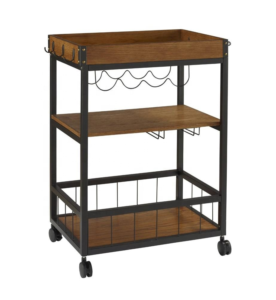 Kitchen Cart 9 Layers Solid Wood Storage Metal Frame Wooden Hand ...