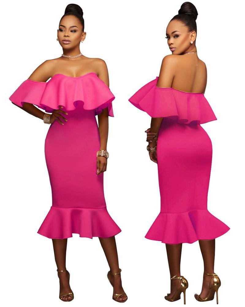 도매 S8500 여러 색상 가능 트럼펫 여성 나이트 클럽 착용 파티 드레스