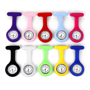 Multi colors stock soft silicone nurse watch for hospital,Nurse pin watch with durable movement,Breast watch for nurse