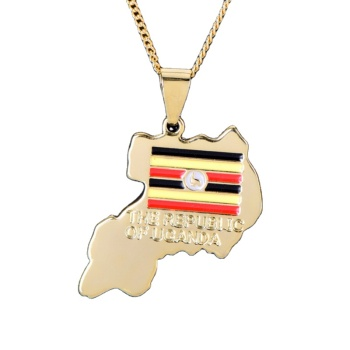 Wholesale Unique Custom Logo 18K Gold Plated Uganda Map Necklace Pendant For Copper Jewelry