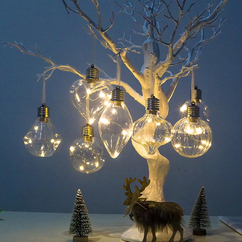 Рождественские украшения, украшения для вечеринки, светодиодные светильники, прозрачные Рождественские шары, рождественские украшения