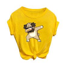 Эстетическая хлопковая футболка, женская футболка с рисунком Харадзюку, женская желтая мультяшная Футболка с принтом кошки, женская футбол...(China)