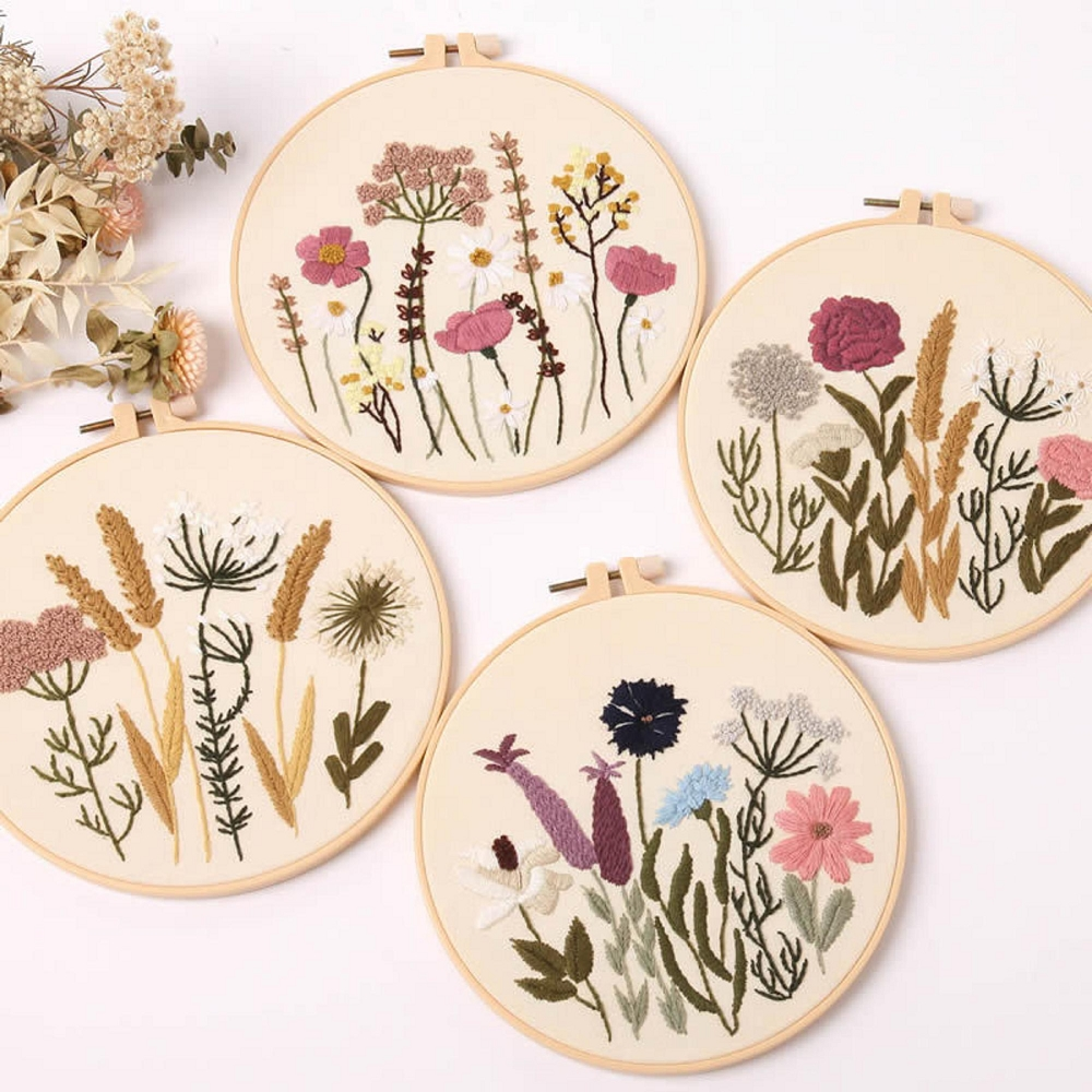 Flora Embroidery Kit for Adults Handmade Craft with Hoop, Thread, Needles, Full Kit, DIY Craft for Beginner
