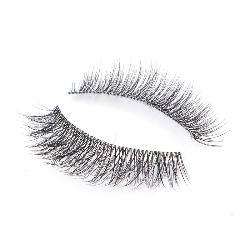 Genielash Fluffy Softer Clear Band Lighter Double 3D Faux Mink False Eyelashes