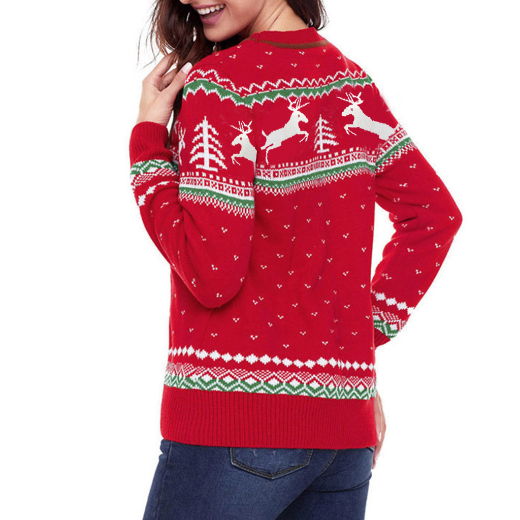 New Design Autumn Winter Fashion Women Jacquard Knitted Christmas Sweater