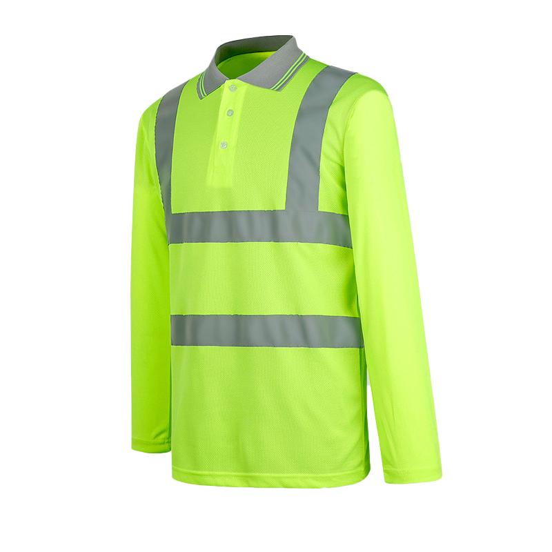 Низкая цена, индивидуальная быстросохнущая рабочая одежда с длинными рукавами, светоотражающая флуоресцентная рубашка поло