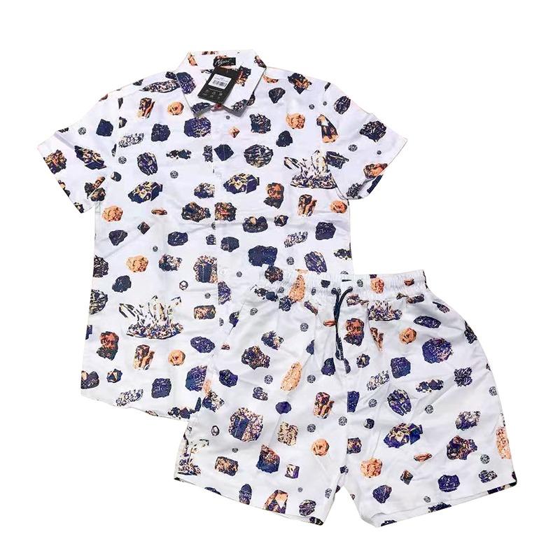 High quality custom full printing Wear Fashion Beach Shorts Sets Polyester Men's Hawaiian Shirts Swimming Trunks Board Shorts