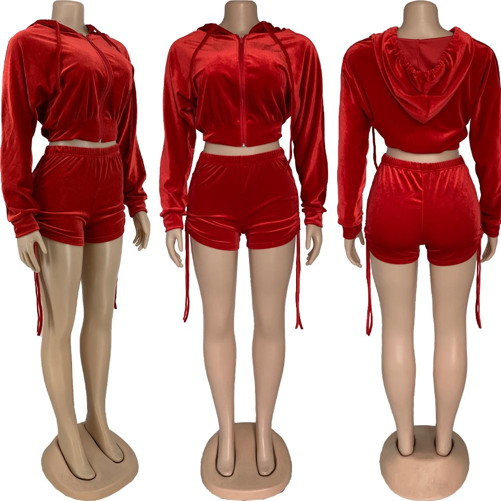 Женский спортивный костюм на молнии, короткий топ с длинным рукавом и шорты, летняя одежда, Бархатный комплект из двух предметов, модные костюмы, наряды