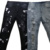 New Men Slim fit Slim pencil pants High elasticity Biker jeans Hole Cat claw destroyed Spray paint Leisure trousers