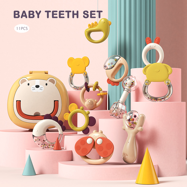Baby teethers eco friendly multi styles cute storage box exquisite baby teethers with accessories
