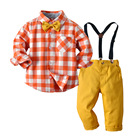 2020 latest design wholesale boutique formal plaid shirt pants two pieces suit children kids clothing costume dress for boys