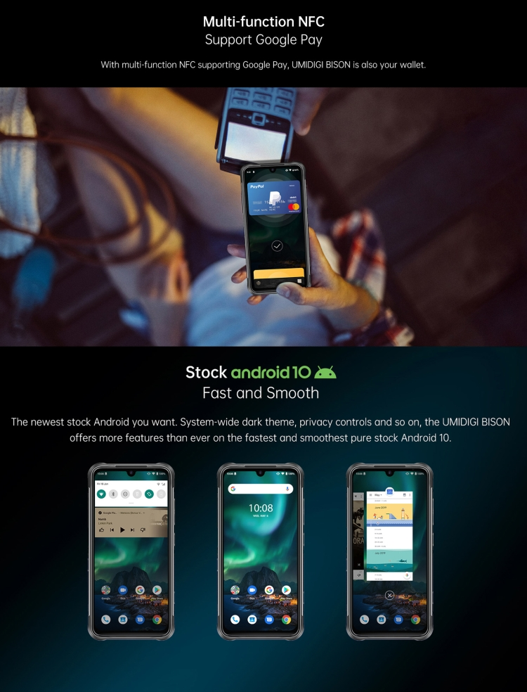 Shopify дропшиппинг UMIDIGI BISON Rugged мобильные телефоны 6 ГБ + 128 Гб 6,3 дюйма IP68 водонепроницаемый смартфон Adndroid
