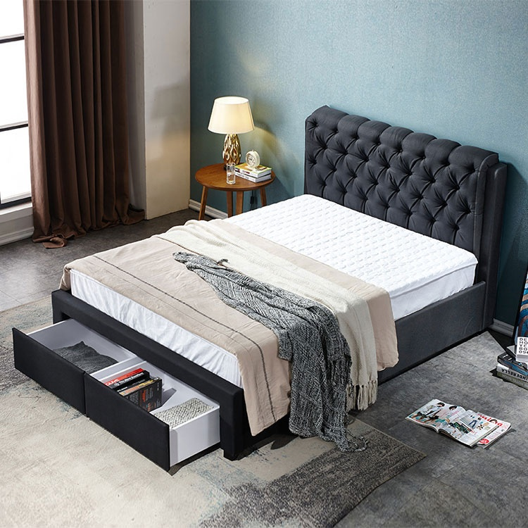 New modern design comfortable double queen size storage fabric bed with two storage drawers