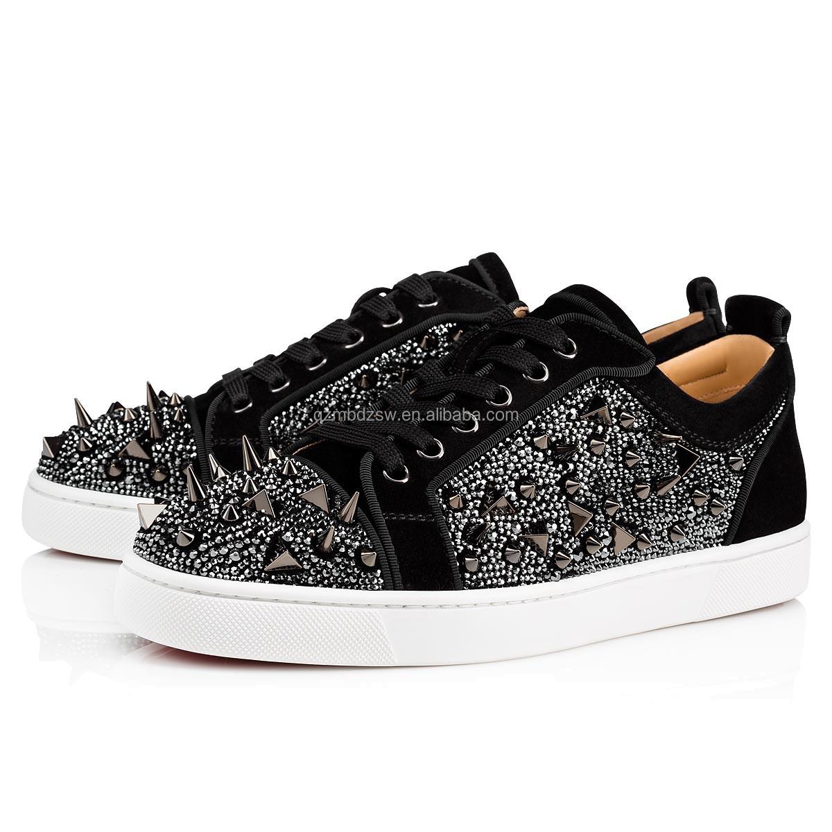 Модный бренд CL красный низ лучшее качество черные натуральные кожаные заклепки для женщин и мужчин Роскошная брендовая дизайнерская повседневная обувь кроссовки