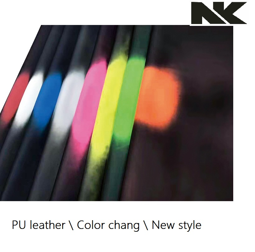 P649 Newest synthetic material color change UV light change fabric PU leather