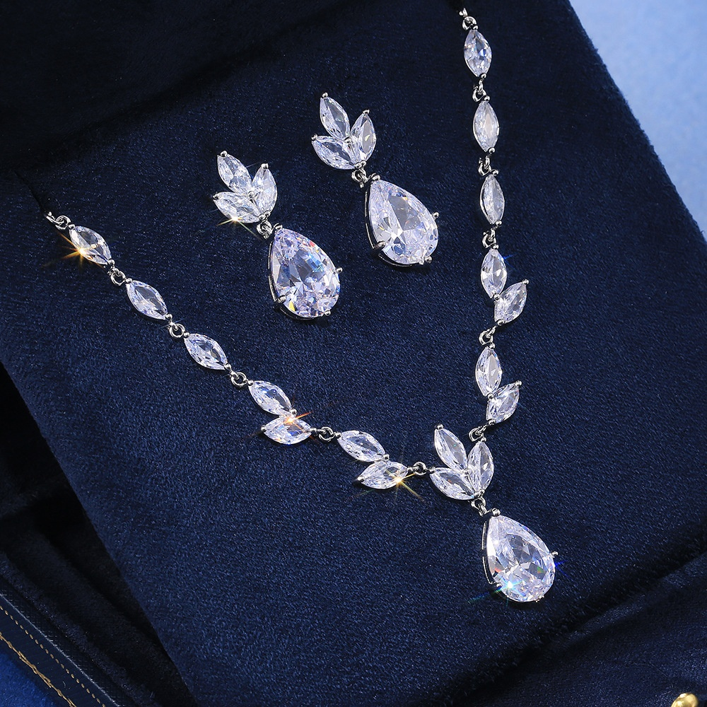 Fashion Necklace/Earring Jewelry Set Women Wedding Party High Quality Gorgeous Pear Shape Shiny Zircon Valentines Gift