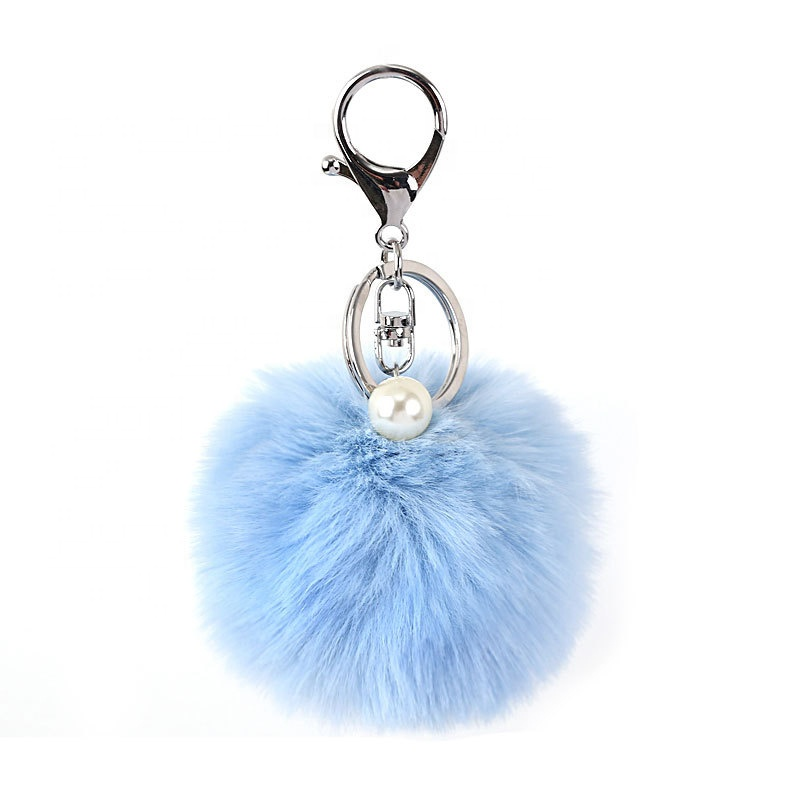 Твердый жемчуг пушистый кролик лиса брелок Пушистый пушистый шар под заказ помпон серебряный ключ-chai