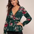 Ladies Fashion V-neck Open Long Sleeve Floral Ladies Casual Shirt