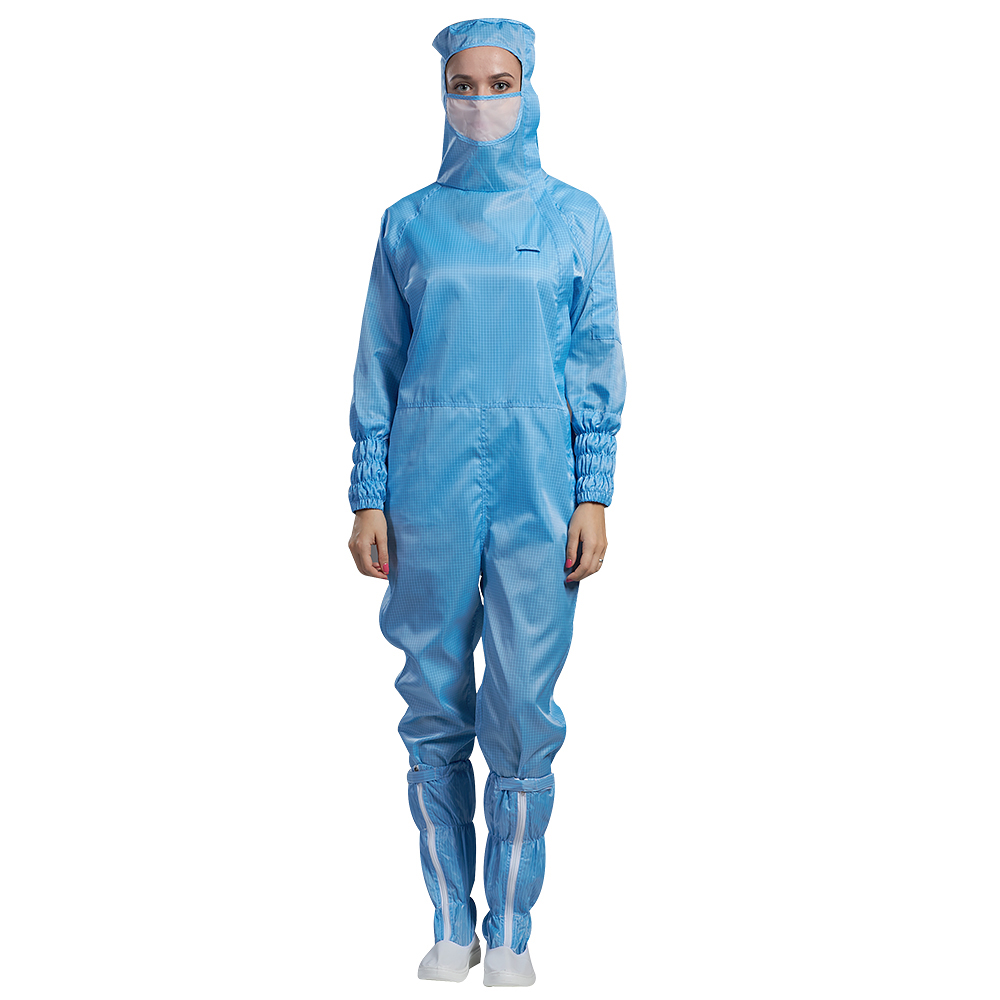blue and white strip or grid cleanroom polyester antistatic working clothes for manufacturing - KingCare | KingCare.net