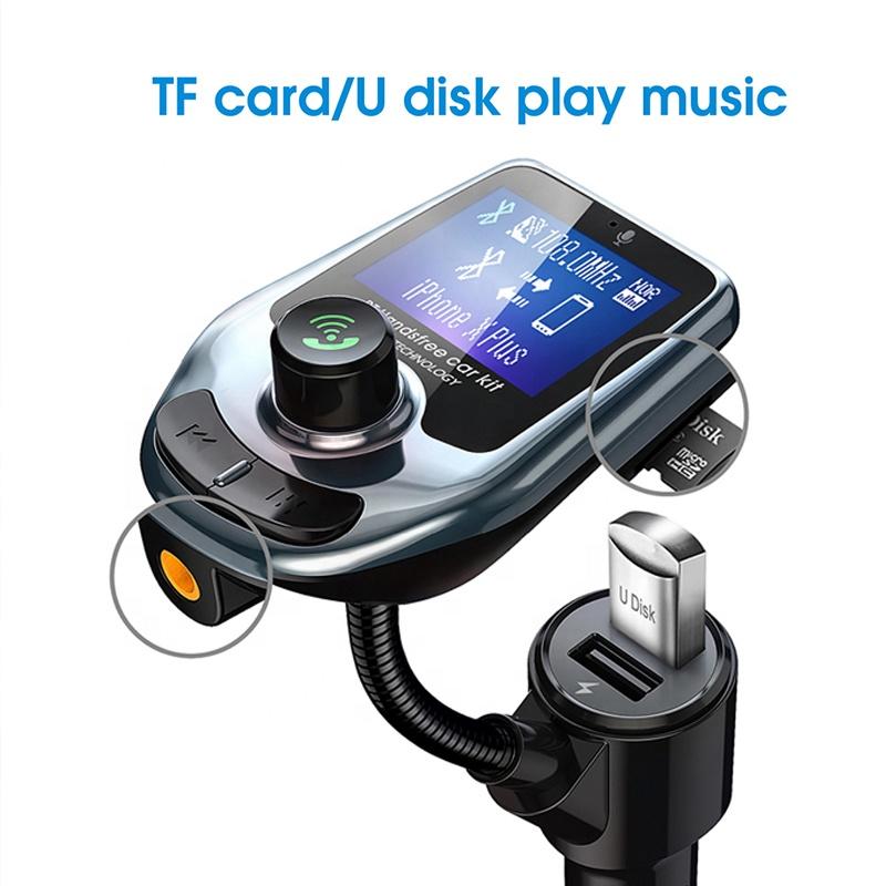 D4 FM Transmitter Audio Car MP3 Player FM Modulator Wireless Handsfree Car Kit with LCD Display QC3.0 USB Car Charger