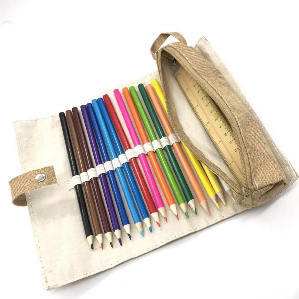 Экологичный Деревянный Цветной Офисный Набор для карандашей и точилки для карандашей, деревянная линейка, набор для детей