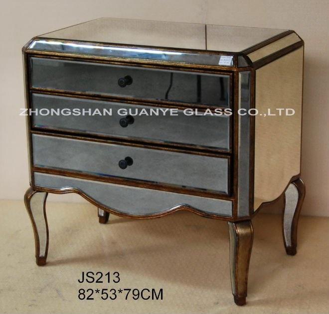 Лидер продаж, Высококачественная мебель для спальни ручной работы в античном стиле с 3 зеркальными ящиками, узкий прикроватный шкаф, комод