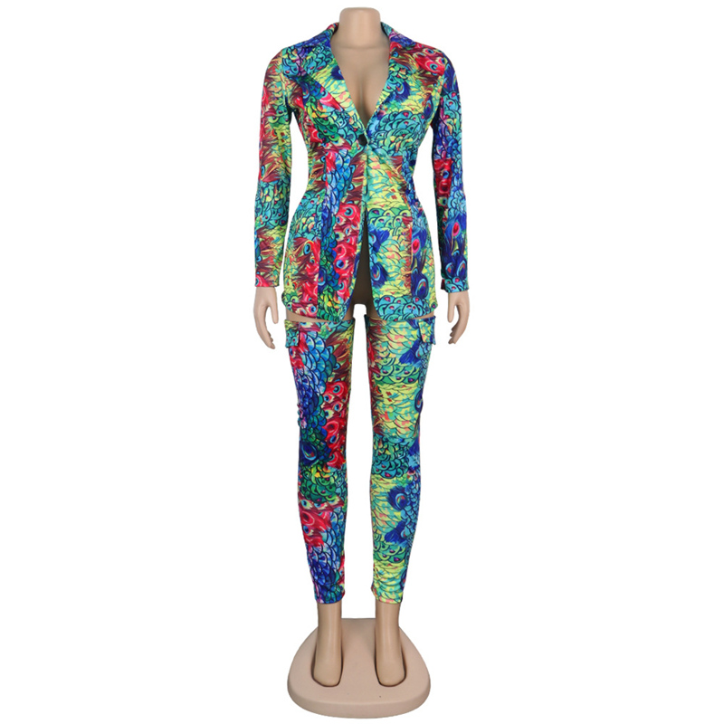 Сексуальный клубный комплект из двух предметов, женская одежда, Леопардовый принт, блейзер, куртка, топ и брюки, костюм, набор, элегантная ул...(Китай)