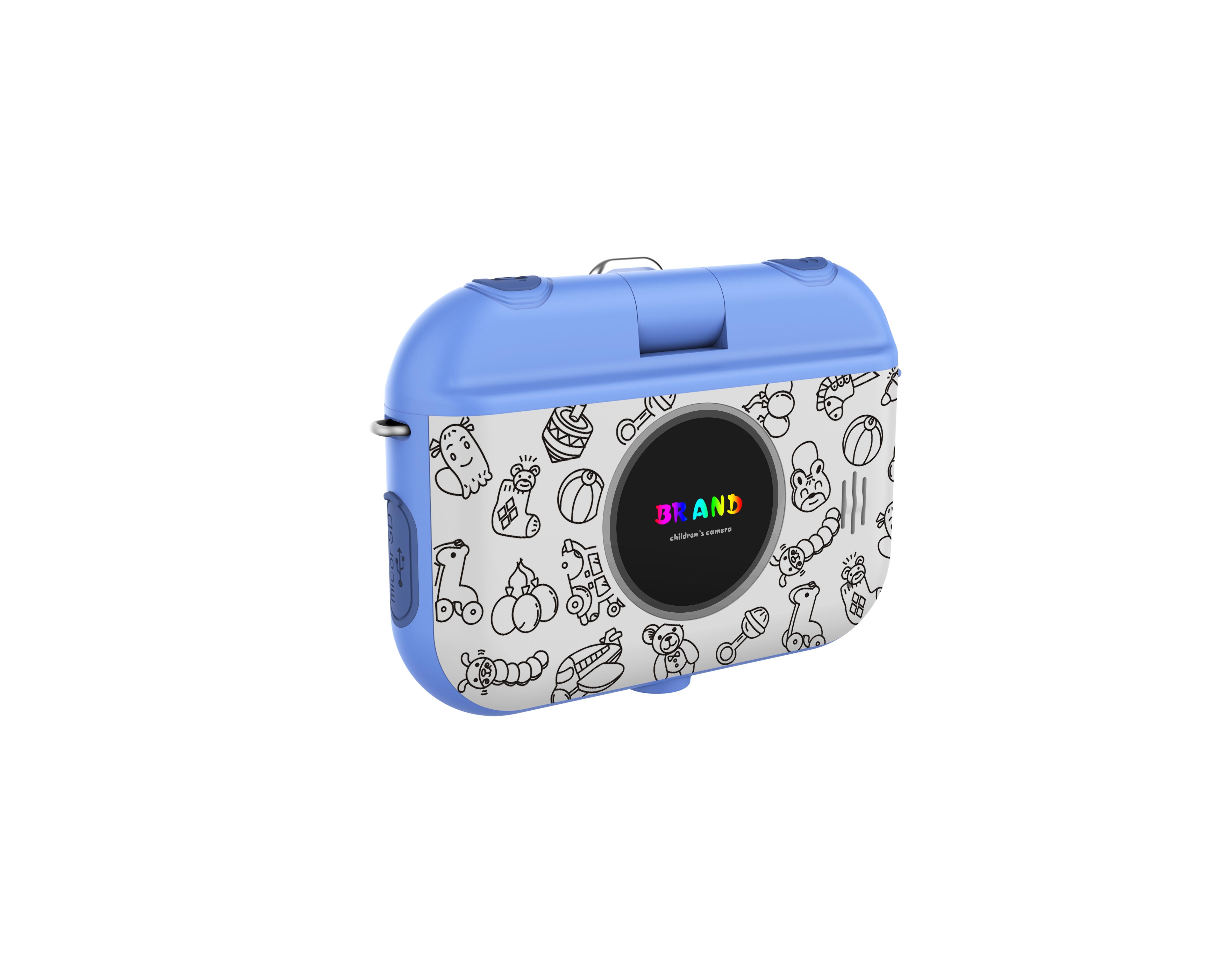 HDKing funny cartoon frame selfie photo 1080P Kids digital camera with rotating lens