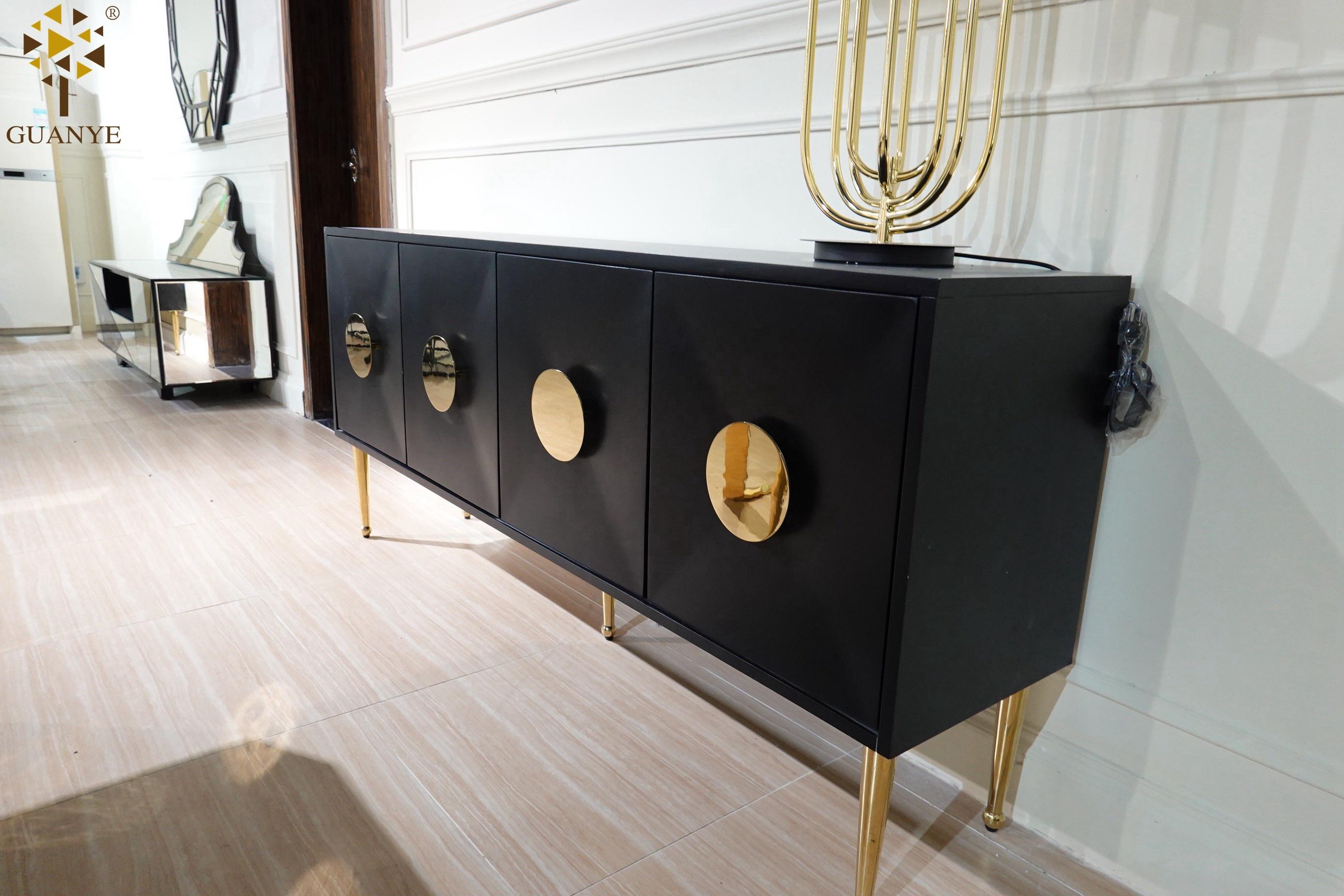 Горячая Распродажа, зеркальная столовая GuanYe с четырехдверным шкафом общего назначения, черное стекло + Золотая консоль, буфетный шкаф